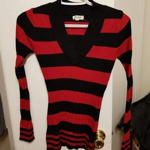 Energie red and black striped sweater